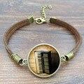 Vintage Brown Rope Bracelet Unique Accordion Glass Art Picture Ancient Bronze charm bracelets for Women Men Jewelry 2016
