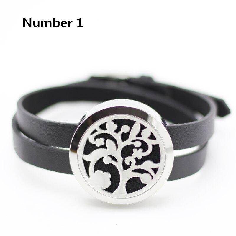 316L Acero inoxidable flotante locket pulsera plata 25mm 30mm aromaterapia cuero pulsera difusor (gratis con 5 piezas almohadillas)