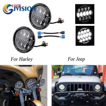 Pair/2pcs 105W 7INCH LED projector Headlight 12 Volts led Driving fog light lamp for Jeep Wrangler CJ TJ JK Harley Hummer