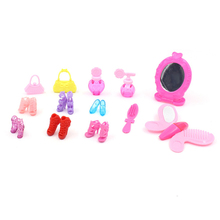 13pcs/set Doll Accessories Shoes DIY Makeup Cosmetic Bag Mirror Comb Playset for 30cm Dolls Toys For Girls Gift