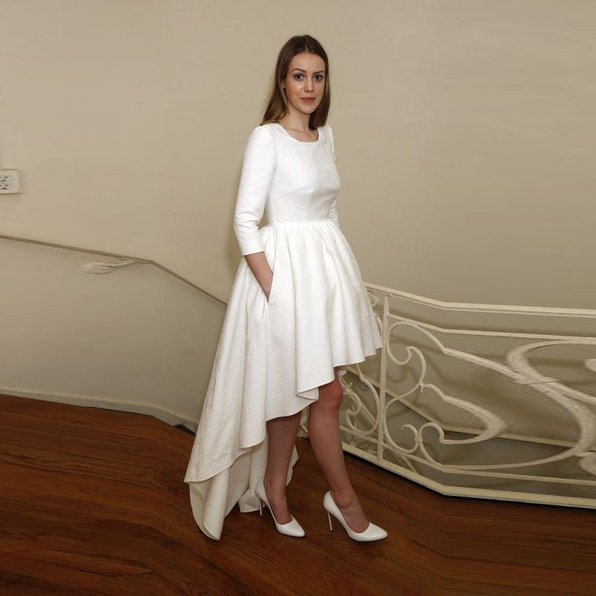 Asymmetrical Personalized Low Pockets Elegant Maxi Length Skirt With Women Pure White Full Floor High Skirts 4FnXw7x6qq