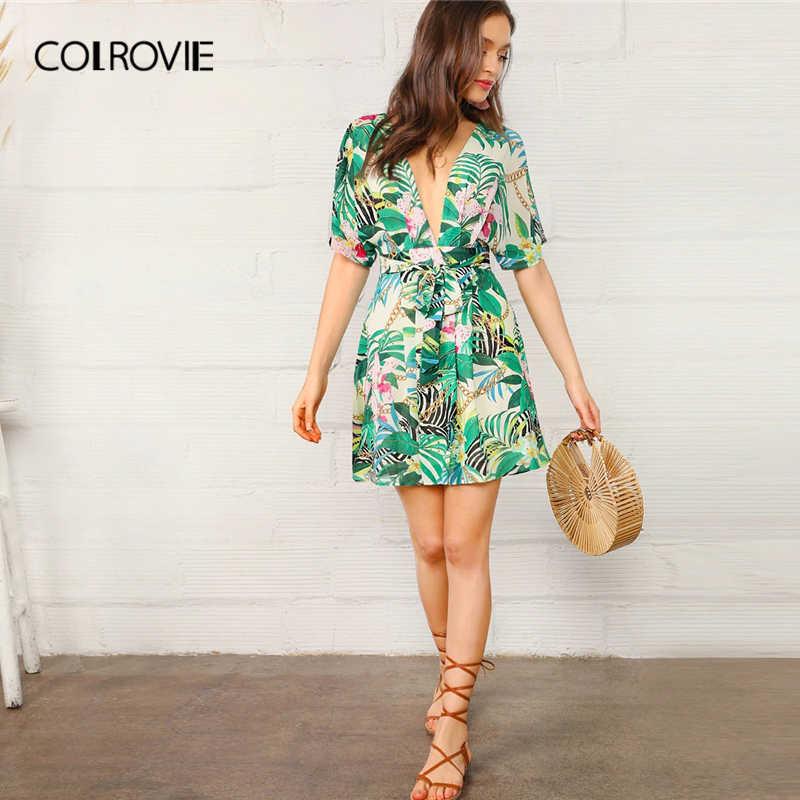 COLROVIE Глубокий V средства ухода за кожей шеи открытой спиной цепи тропический Платье с принтом для женщин 2019 г. пикантные летние с коротким рукавом, с вырезом на спине