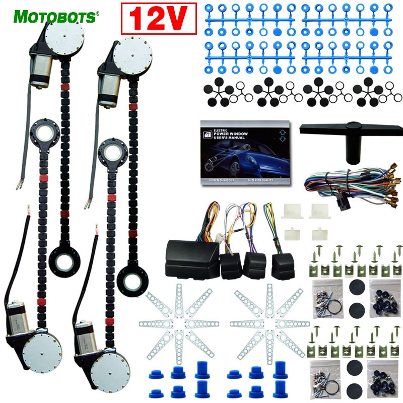 MOTOBOTS 1Set DC12V Universal Car/Auto 4 Doors Electronice Power Window kits With 8pcs/Set Swithces and Harness motobots universal 2 doors car auto electric power window kits with 3pcs set switches and harness dc12v ca4100