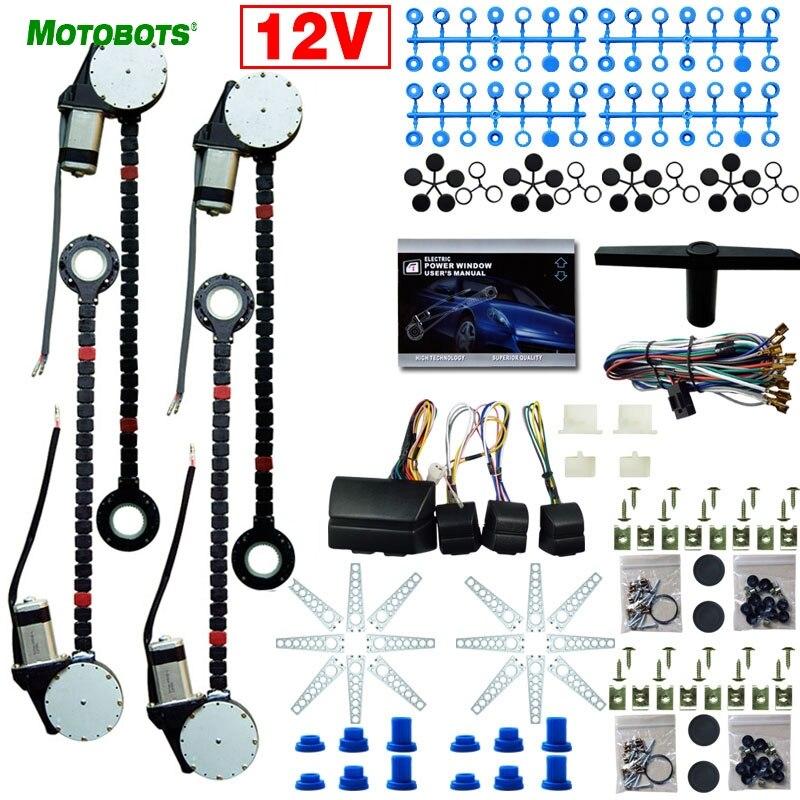 MOTOBOTS 1Set DC12V Universal Car/Auto 4 Doors Electronice Power Window Kits With 8pcs/Set Swithces And Harness