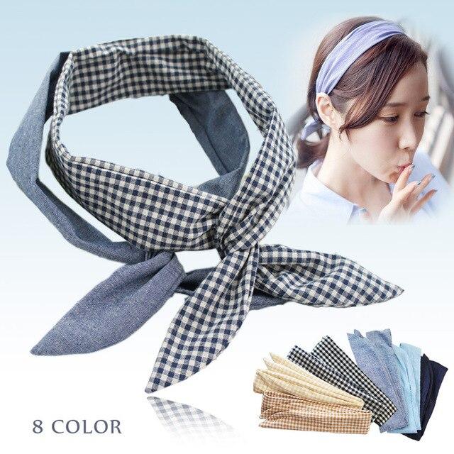 [Aiweier]Hairbands For Women Korea Style Cute Rabbit Ears Denim Adult Ladies Headband Elastic Hair Clips Plaid Hairbands YP0341