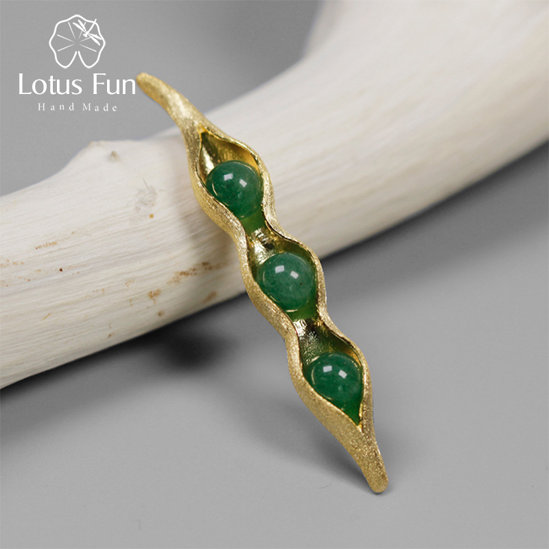 Lotus Fun Real 925 Sterling Silver Brooches for Women Green Aventurine Bean Lapel Pins for Men Suit Collar Safety Pin