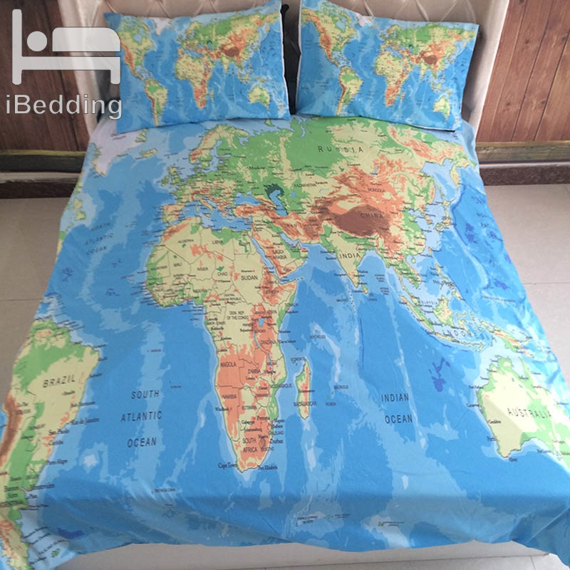 US $26.0 30% OFF|3Pcs/Set World Map Printed Queen Comforter Bedding Sets  King Twin Size Luxury 3d Bed Duvet Cover Sheet Set Linen Home Textiles-in  ...