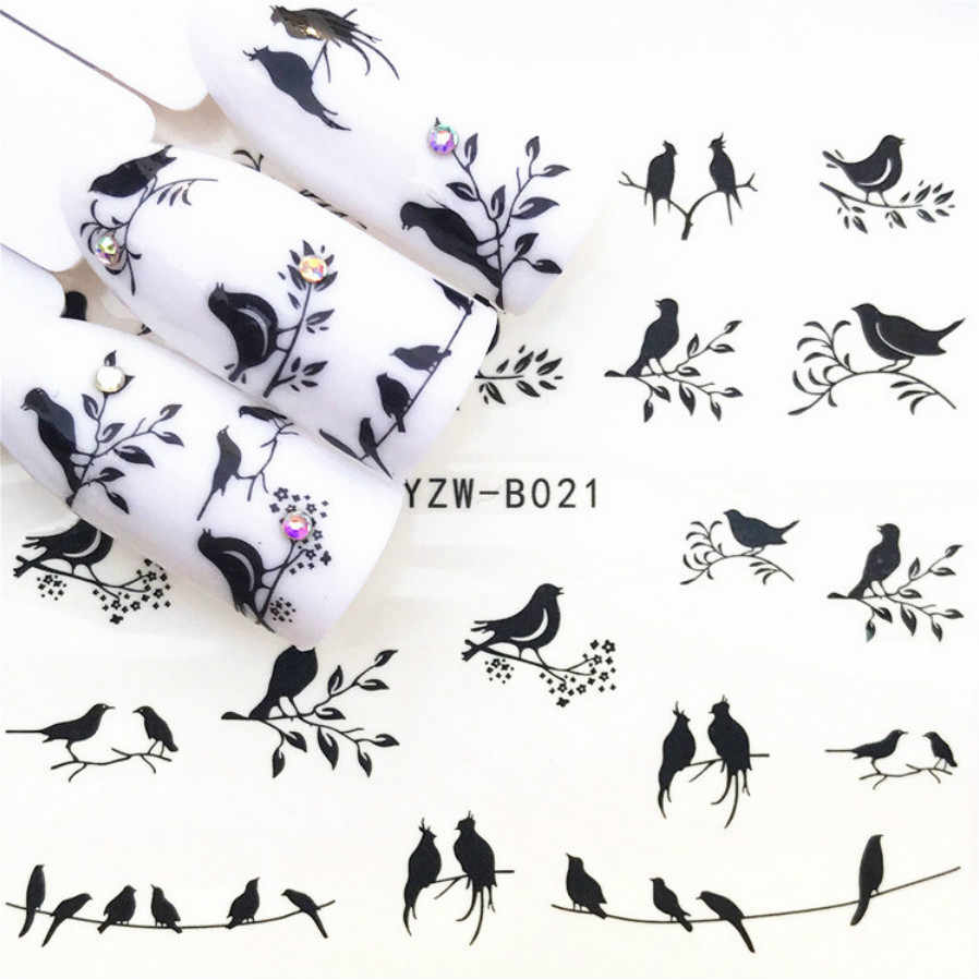 LOLEDE 1Sheet Little Bird Nail Sticker Flower Decal Sliders for Nail Art Decoration Tattoo Manicure Wraps Tool 1008
