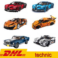 Technic series Super Car Bugatti chiron Veneno McLaren Koenigsegg Mustang GT 911 Model Building Blocks Toy Same LegoINGS