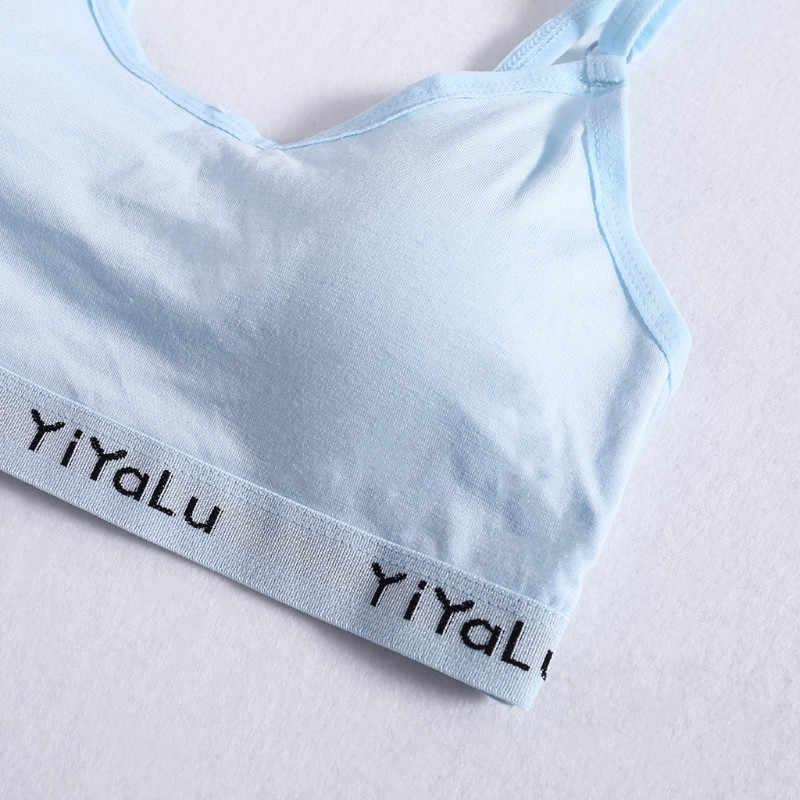 Klv novas meninas sutiã de treinamento adolescentes crianças macio algodão respirável esporte roupa interior sutiã confortável para crianças