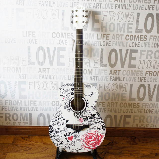 Cheap 2016 NEW guitars White 40 inch high quality Acoustic Guitar guitarra Musical Instruments with guitar strings