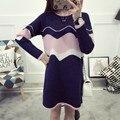 НОВЫЕ горячие продажи женщин осень зима длинные случайные вязать свитера женщины колледж ветер свободные свитера платья женские свободные пуловеры