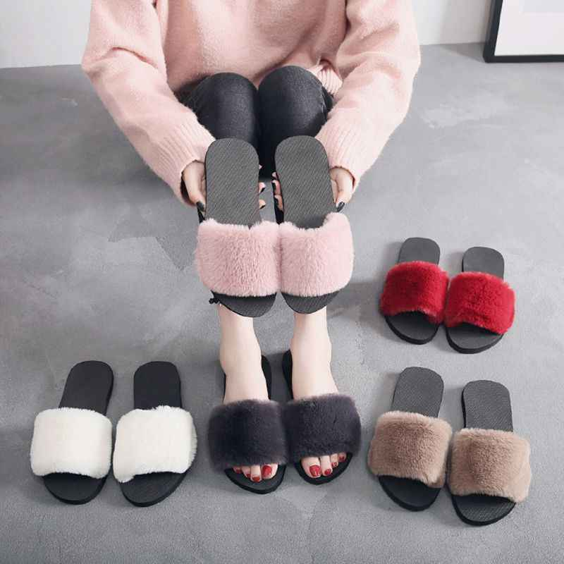 Hot Sale 36-40 Mulheres Chinelos Moda Fluffy Faux Fur Plush Chinelos Mulheres Primavera Outono Slides Flip Flops Plana sapatos X4