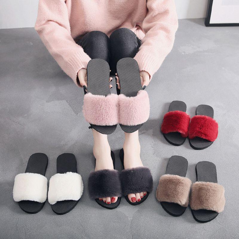 все цены на Hot Sale 36-40 Women Slippers Fashion Fluffy Faux Fur Plush Slippers Women Spring Autumn Slides Flip Flops Flat Shoes X4