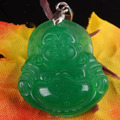 24X27MM Imperial Green Jade Buddha Bead Pendant 1PCS