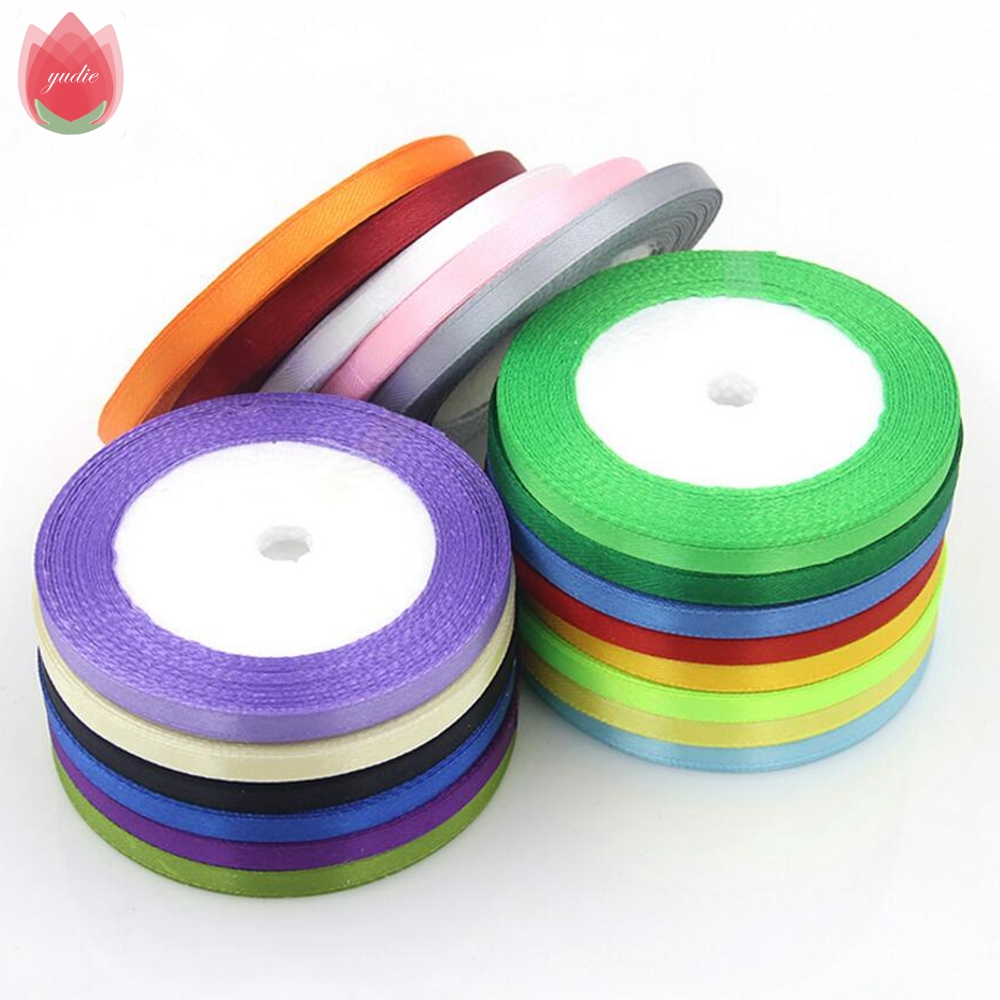 White 6mm 25 yard 22m silk satin organza polyester ribbon for sewing wedding party decoration webbing