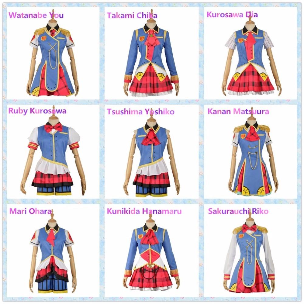 Free Ship Cosplay Costume Love Live Sunshine Aqours Happy Party Train Watanabe You Ruby Kurosawa Kanan Matsuura Takami Chika H