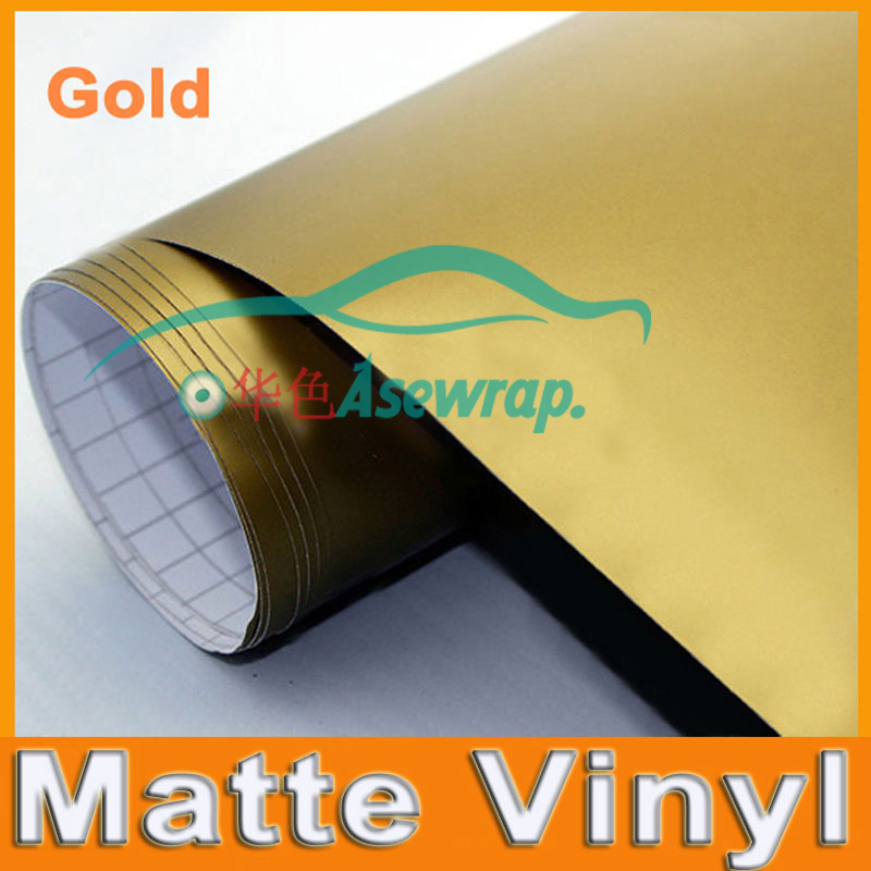 Gold Matte Vinyl Wrap Satin Matt  Foil Car Wrap Film Vehicle decoration vinyl  with different size ca Sticker