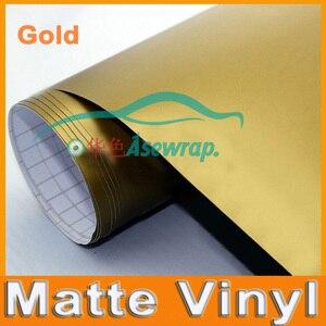Image 1 - Gold Matte Vinyl Wrap Satin Matt  Foil Car Wrap Film Vehicle decoration vinyl  with different size ca Sticker