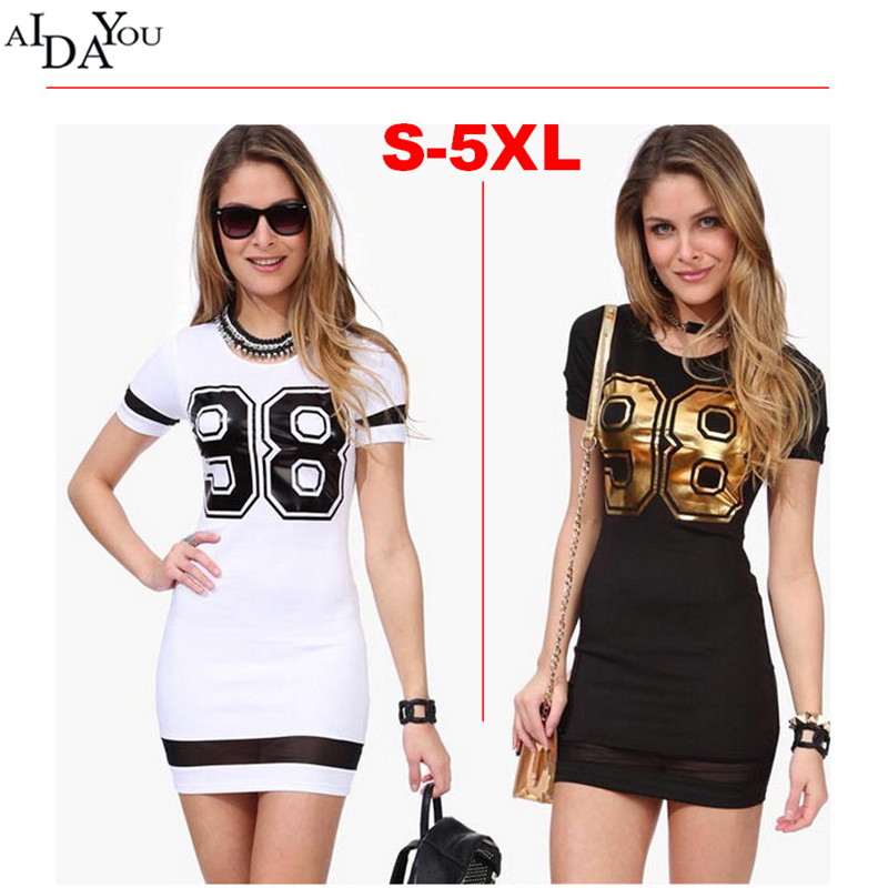 Fashion Sports <font><b>Dress</b></font> 98 printed O-neck Baseball <font><b>Sexy</b></font> Casual Vestidos Short Sleeve Outdoor <font><b>Plus</b></font> <font><b>Size</b></font> ouc621 image