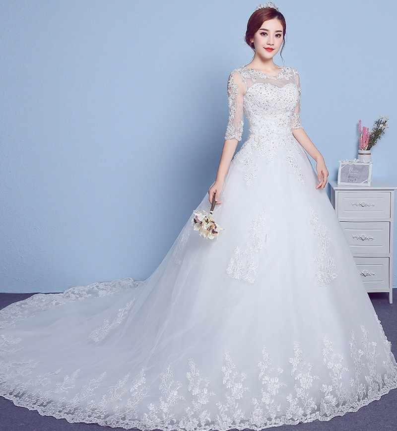 940521641 На заказ 2019 элегантные кружевные платья A-lne для свадьбы vestido de Noiva  Casamento с
