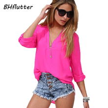 Blusas Women Blouses XXL 3XL 4XL Plus Size Women Clothing 2017 Long Sleeve Chiffon Shirts V neck Women's Casual Summer Tops