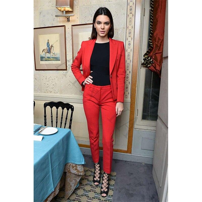 Women Business Suits Formal Suits Office Work Wear Uniform Red Styles  Ladies Elegant Pantsuit Women Pants f6ac652c7a2b