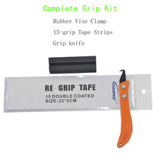 Golf Club Grip Kit Rubber Vise Clamp Regrip Tool Install Change Steel Hook Blade Utility Knife Kit with 15Pieces Grip Tapes