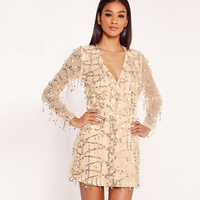 Long Sleeve Plunge Neck Beige Sequined Dress Women Autumn Fashion Mini V Neck See Through Sexy