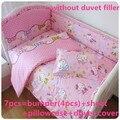 Descuento! 6 / 7 unids Hello Kitty bebé juegos de cama cuna cuna Bassinette Bumper acolchado cubierta del edredón, 120 * 60 / 120 * 70 cm