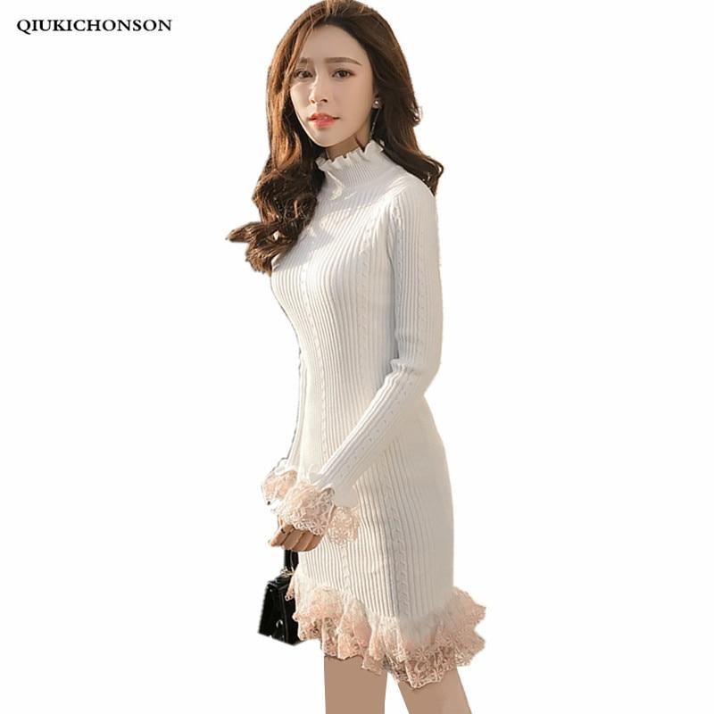 Qiukichonson Half Turtleneck Sweater Dress Women 2018 Autumn Winter Ladies Elegant Lace Ruffles Flare Sleeve Bodycon Dresses