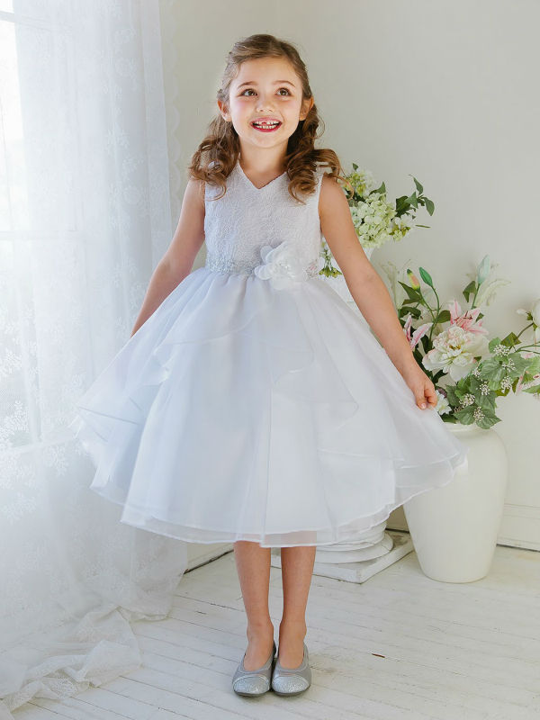 A-Line Flower Girls Dresses For Wedding Gowns Knee-Length Kids Prom Dresses Lace Dress Girl Mother Daughter Dresses With Flower