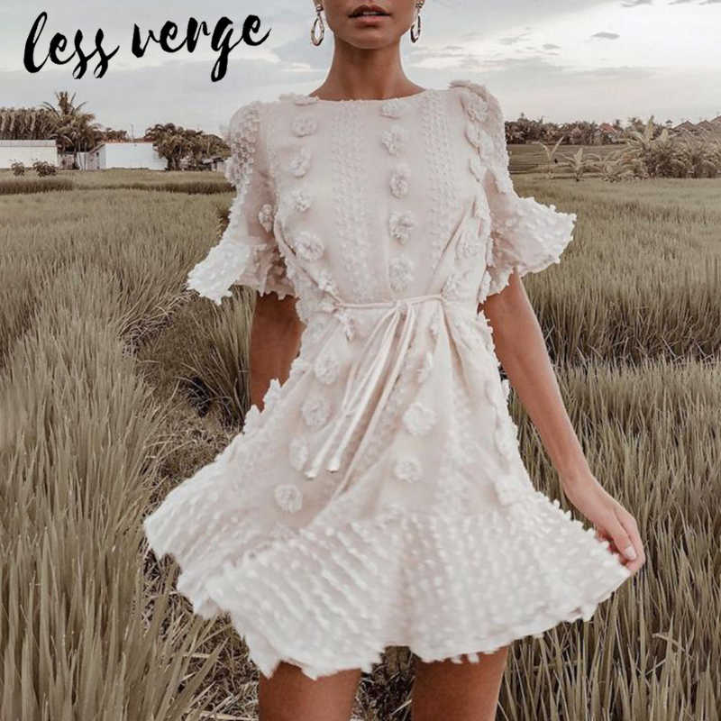 574b3c2eea474 lessverge Slash neck puff sleeve white dress Hollow out a line lace ...