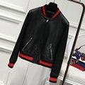 Women Genuine Leather Jacket 100% Real Sheepskin Lambskin O-Neck Black Short Female Coat new Spring Autumn jackets Plus Size hot