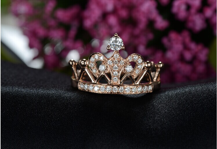 Famous Lovely Queen Crown Ring 18KRose Gold Ring Diamond Au750 Rose Gold  RX14