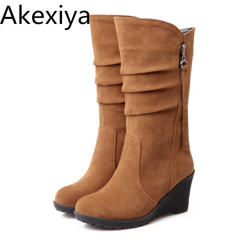 Akexiya 2017 Big Size 34-43 High Quality Women Shoes Hot New Arrivals Mid Calf Wedges Boots PU Leather Autumn Spring Woman Boots women mid calf boots high heel woman short boots shoes spring autumn genuine leather high quality plus size 34 40 41 42