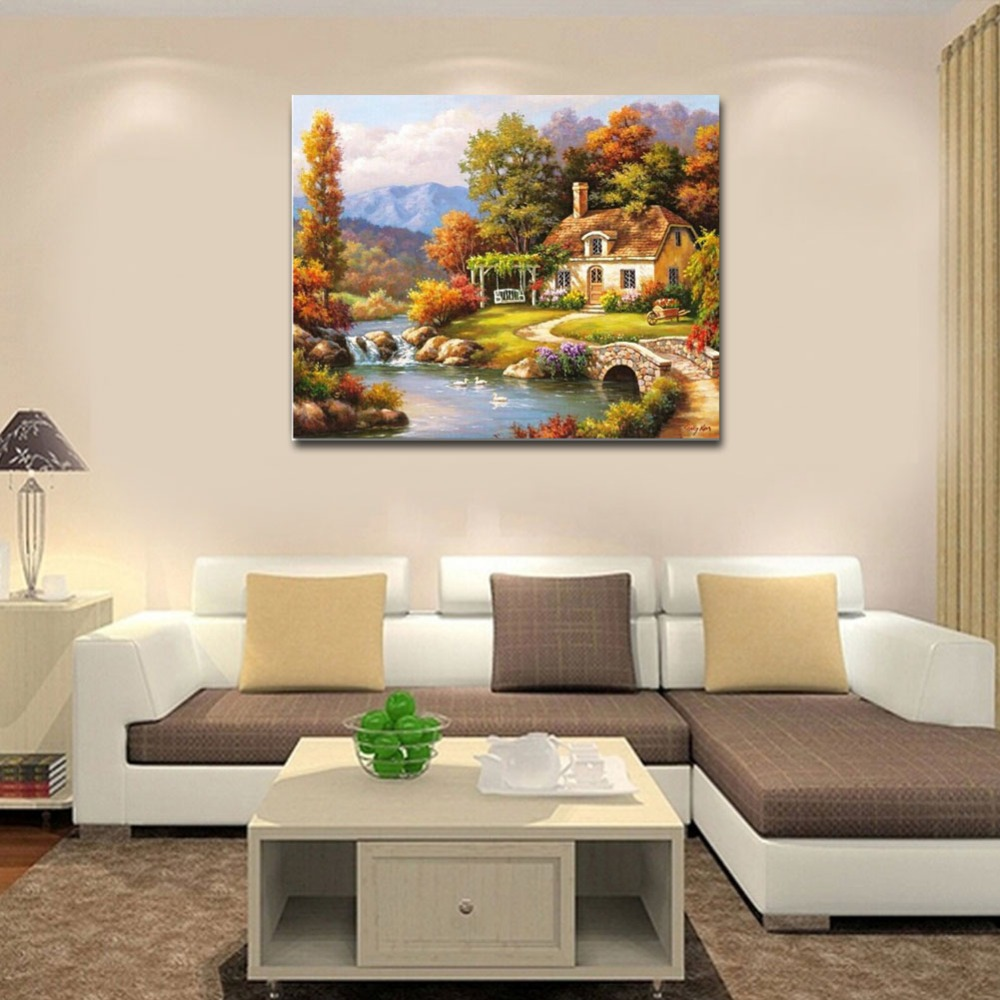 RIHE Suburb Cabin Diy Painting By Numbers River Oil Painting Forest Cuadros Decoracion Acrylic Paint On Canvas Modern Wall Art in Painting Calligraphy from Home Garden