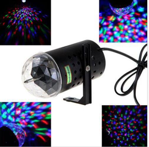 3W Colorful LED Crystal Rotating RGB Stage Light DJ Disco Party Lamp Bulb Light 1pcs Free Shipping