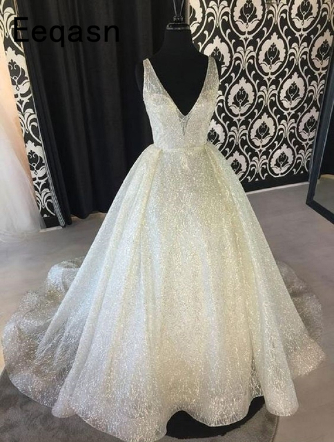 Real Photos Shiny Princess Gold Glitter Wedding Dresses V Neck Glitter  Sequin Dubai Bride Dress Robe 75c08bd45edc