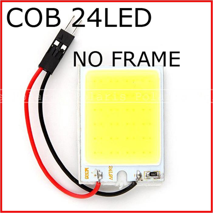 100pcs 4W COB Chip LED 24 led smd Car Interior Light T10 Festoon Dome Adapter Panel light 12V White Hot Selling