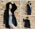 2015 new luxury winter Women's Long style overcoat lady's hooded full pelt real natural rabbit fur coat female outerwear