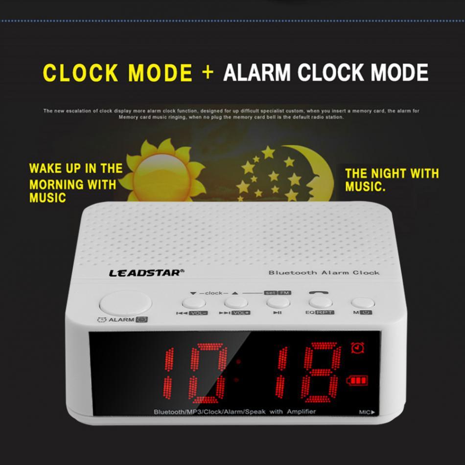 "LEADSTAR 3.5/"" Wireless Bluetooth Stereo Speaker MP3 AUX Alarm Clock FM Radio TF"