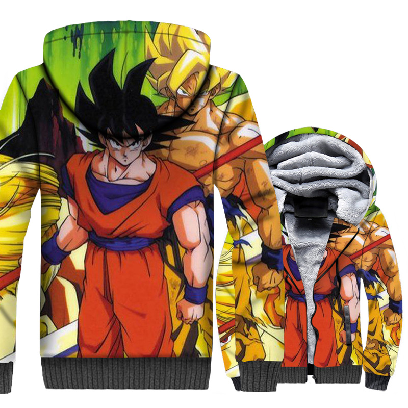 3D Print clothes Dragon Ball Z jackets long sleeve sweatshirt winter super Saiyan Anime Harajuku hooded 2018 men thick swag coat