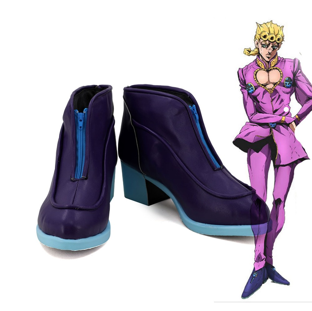 JOJO s Bizarre Adventure Golden Wind Giorno Giovanna Cosplay Boots Purple Shoes Custom Made
