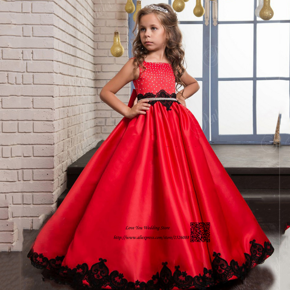 vestido daminha red black lace long pageant dresses for