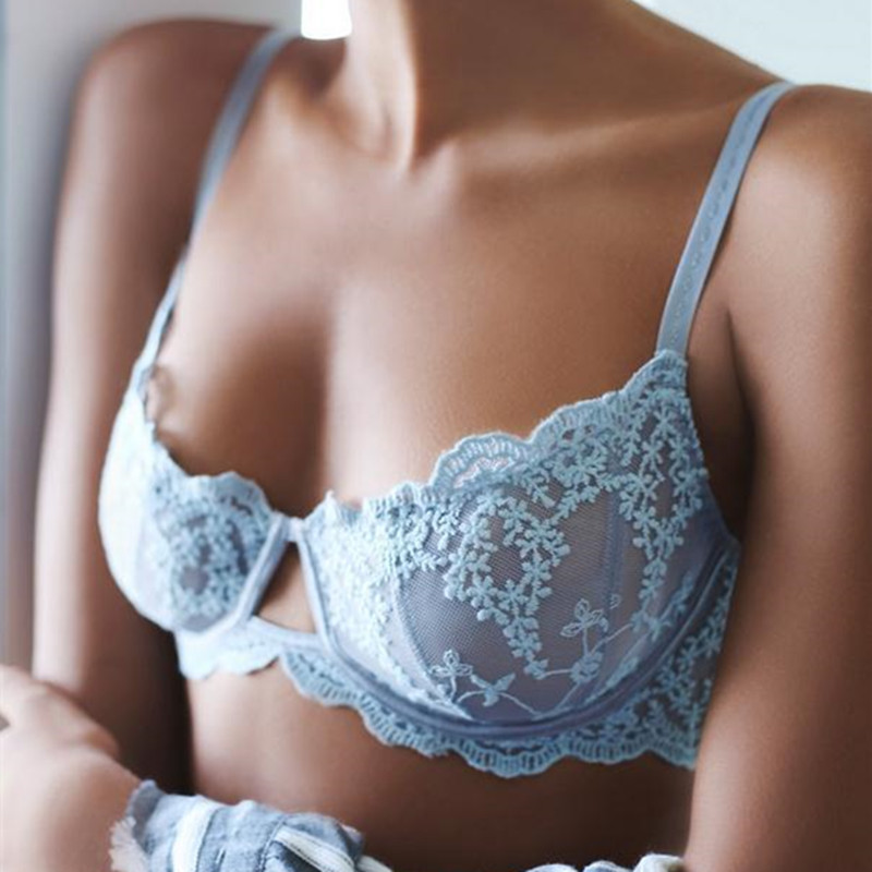 Ultrathin Lingerie   set   plus size   bras   A B C D Cup sexy   bra     set   transparent women underwear Embroidery Flowers Lingerie bralette