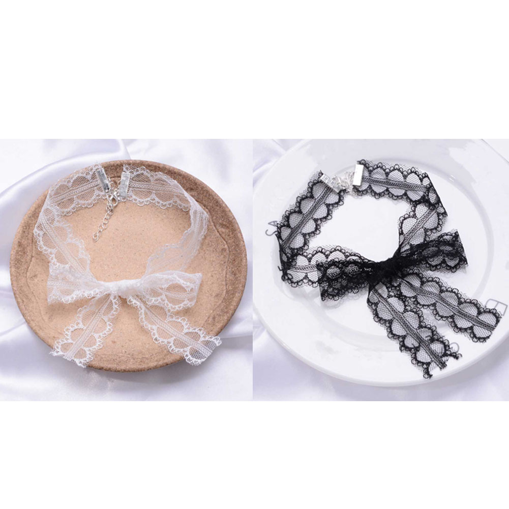 Elegant Sexy Black /White Lace Butterfly Knot Choker Original Hand Made Necklace Jewelry for Women