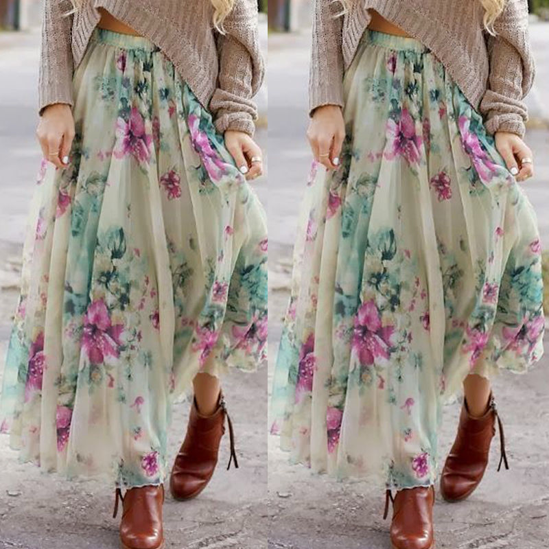 bafec6f30 Fashion BOHO Womens Floral Jersey Gypsy Chiffon Long Maxi Full Skirt Summer  Casual Beach Sun Skirts-in Skirts from Women's Clothing on Aliexpress.com  ...