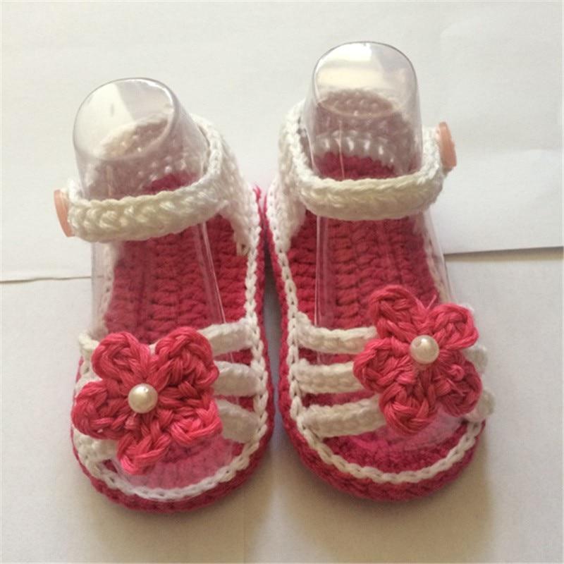 QYFLYXUE- Baby girl Toddler bateliai Nėrimo rankų darbo vilnonis nėrimas Trikotažo minkštas apatinis vasaros vaikų batai 0-12M chaussure bebe fille