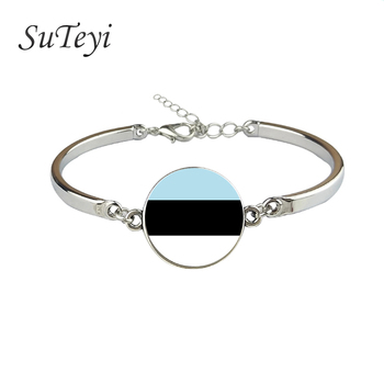 SUTEYI Flag Bracelet Of Estonia Andorra Angola Antigua and Barbuda Austria Australia Barbados Papua New Guinea Glass Bracelet image